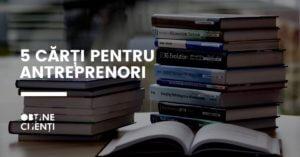 o serie de cati puse una peste alta lângă textul 5 cărți pentru antreprenori