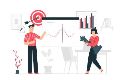 un bărbat și o femeie imbracati in roșu lângă un tabel cu analize SEO