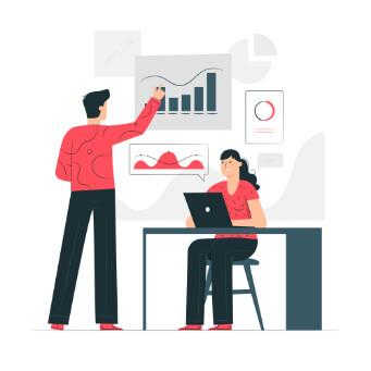 barbat și femeie ce folosesc ilustrații de instrumente de optimizare și analize de date
