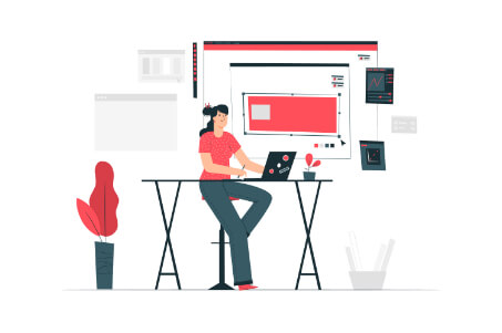 femeie ce lucrează la un laptop și scrie articole