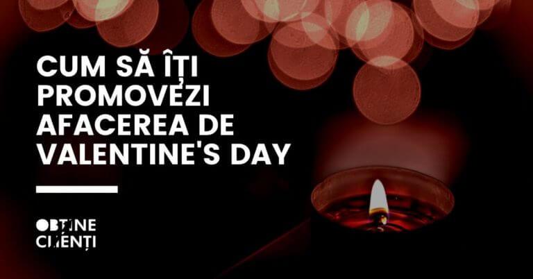 lunânare aprinsă într-un spațiun întunecat și textul cum să îți promovezi afacerea de valentine's day