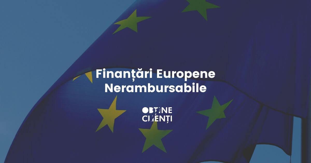 fotografie steag european cu text fonduri europene nerambursabile